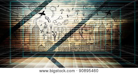Cityscape with brainstorm against abstract technology background