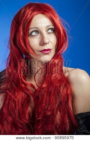 attractive woman with huge red mane