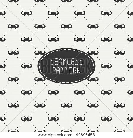 Vector fashionable seamless retro pattern with curly vintage hipster gentleman mustache. Wrapping pa