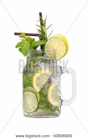 Lemon Lime Soda Mint Rosemary Fresh Drink Isolated