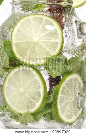 Lime Soda Mint Rosemary Fresh Drink Summer Isolated