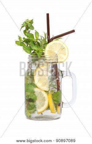 Lemon Soda Mint Rosemary Fresh Drink Summer Isolated