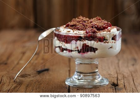 Rye Bread Tiramisu With Cherries, Chocolate And Silver Spoon On Wooden Background