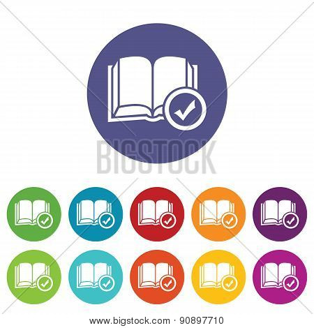 Selected book icon set