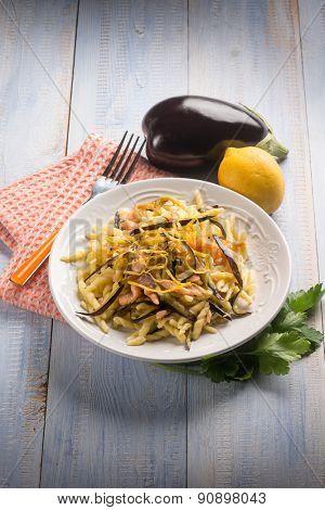 pasta with smoked salmon, eggplant and lemon peel