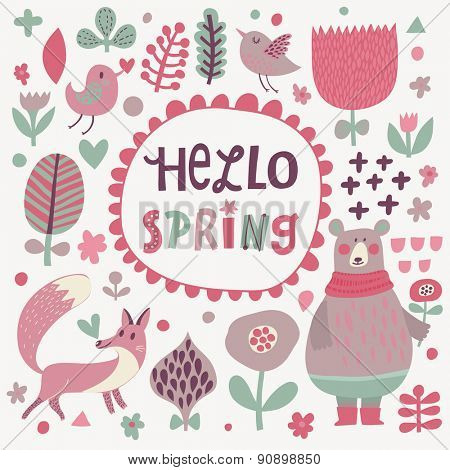 Hello spring concept card. Awesome cartoon collection in vector. Concept set with birds and animals. Fox, bear, flowers and birds in sweet colors in vector
