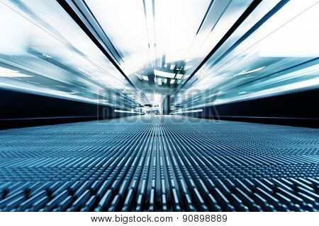 fast motion of escalator