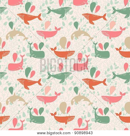 Stunning underwater concept seamless pattern in awesome colors. Lovely whales for modern designs in vector