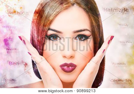 Double exposure of colorful nebula and female hair with words around her head