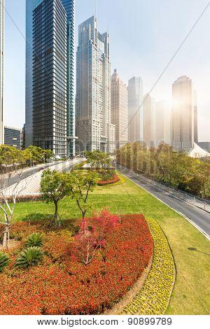 clean street go through the city at shanghai china.