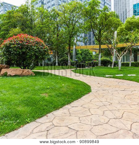 green garden in the Office area at shanghai china.
