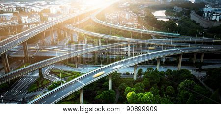 aerial view of the overpass at shagnhai china.
