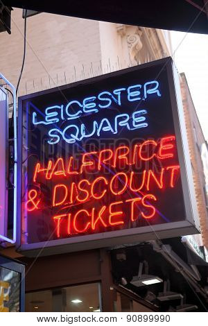 Discount theatre & film tickets sign