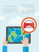 stock photo of gps navigation  - Tablet with mobile gps navigation on a screen - JPG