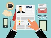 foto of interview  - Job interview concept with business cv resume - JPG