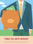pic of coin bank  - Businessman holding piggy bank - JPG