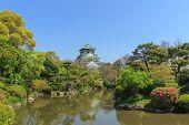 stock photo of castle  - Himeji Castle or Osaka castle with Japanese style garden - JPG