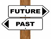 image of past future  - Future and Past signs fixed to a wooden pole over a white background - JPG