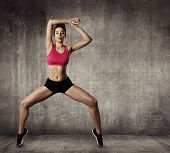 stock photo of break-dance  - Woman Fitness Gymnastic Exercise Sport Young Girl Fit Dance Modern Aerobic Dancer - JPG