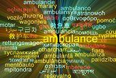 stock photo of ambulance  - Background concept wordcloud multilanguage international many language illustration of ambulance glowing light  - JPG