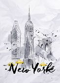 image of empire state building  - Watercolor New York skyscrapers - JPG