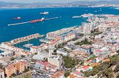 image of gibraltar  - Scenic view from above over city of Gibraltar - JPG