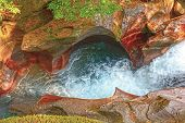 foto of avalanche  - Colorful Avalanche Creek Canyon in Glacier National park in Montana - JPG