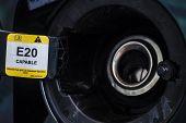 image of fuel economy  - E20 Petrol car fuel tank cover opened - JPG