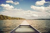 foto of bowing  - Bow of a canoe on a lake - JPG