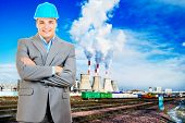 image of jcb  - Photo of a mining engineer on industrial background - JPG
