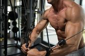 stock photo of mature men  - Muscular Mature Man Working Out Chest In Gym - JPG