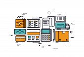 Постер, плакат: E commerce Services Line Style Illustration