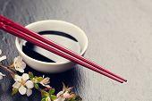 stock photo of soy sauce  - Japanese sushi chopsticks - JPG
