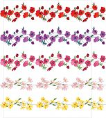 picture of daisy flower  - Seamless pattern brush with stylized bright summer flowers - JPG