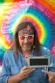 stock photo of hippy  - Funny hippie middle - JPG