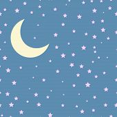 image of moon stars  - Vector night scene with moon and stars - JPG