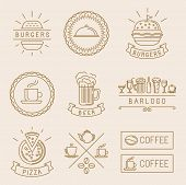 stock photo of food label  - Vector linear food labels and badges with trendy linear illustrations  - JPG