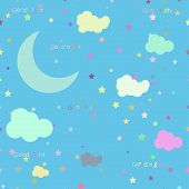 picture of moon stars  - Vector night scene with moon and stars - JPG