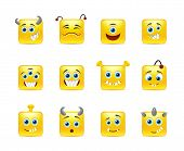 pic of emoticons  - Wonderful and fun emoticons and yellow square - JPG