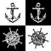 stock photo of navy anchor  - Doodle style ships anchor and wheel illustration in vector format - JPG