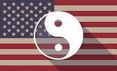 picture of ying yang  - Illustration of an USA flag icon with a ying yang - JPG