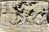 image of building relief  - Mythological relief in the Sprudelhof of Bad Nauheim - JPG