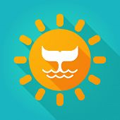 stock photo of whale-tail  - Illustration of a sun icon with a whale tail - JPG