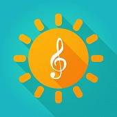 stock photo of g clef  - Illustration of a sun icon with a g clef - JPG