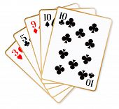 picture of poker hand  - The poker hand of one pair over a white background - JPG