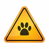 image of animal footprint  - Illustration of a danger signal icon with an animal footprint - JPG