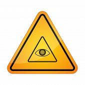 stock photo of illuminati  - Illustration of a danger sign icon with an all seeing eye - JPG