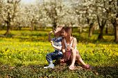 picture of orchard  - Girl sitting with boy in a blooming orchard - JPG