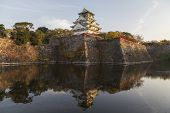stock photo of castle  - This photo was shot from Osaka Castle Japan in the evening - JPG