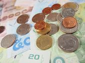 image of copper coins  - Coins on banknotes - JPG